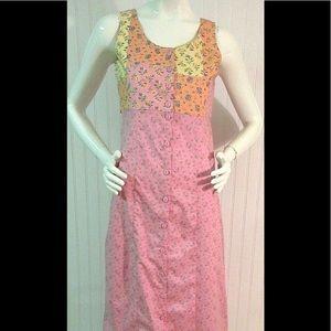 Vtg. April Cornell maxi dress pink w/patchwork XS